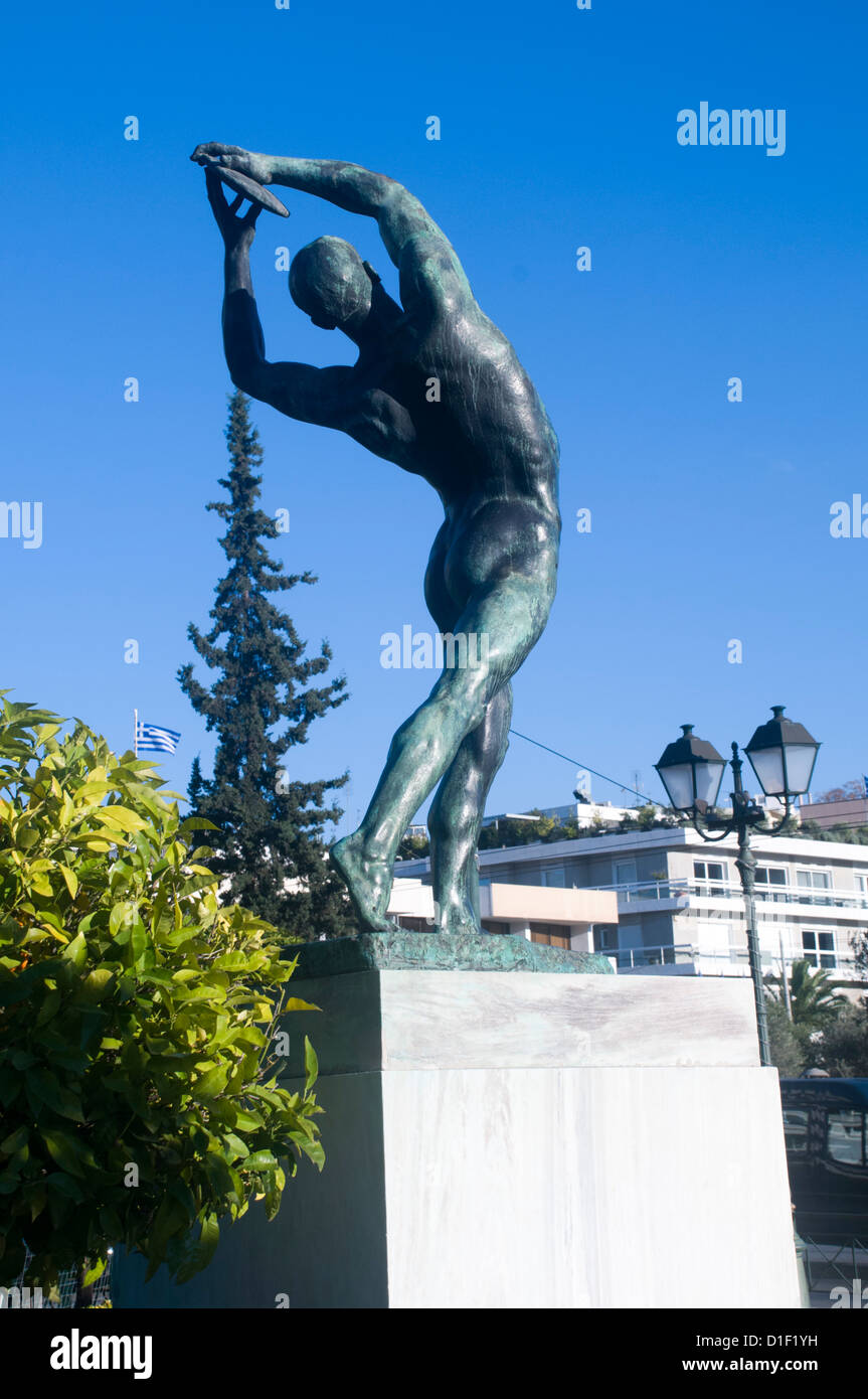 Statue of Discus Thrower in front of the Kalimarmaro Olympic Stadium Athens, Greece Stock Photo