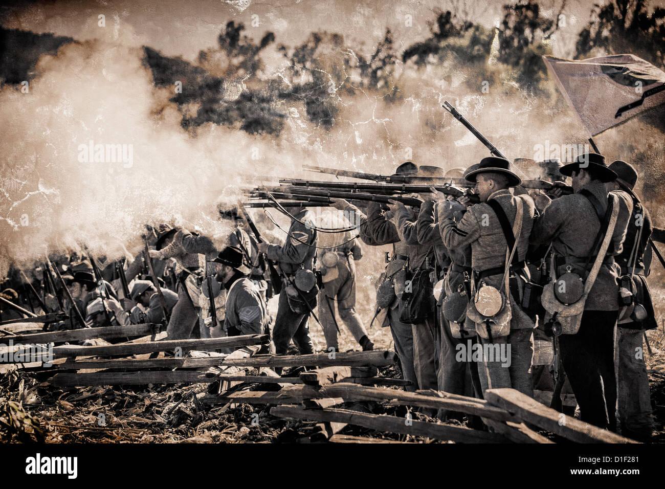American Civil War Reenactment. - Stock Image