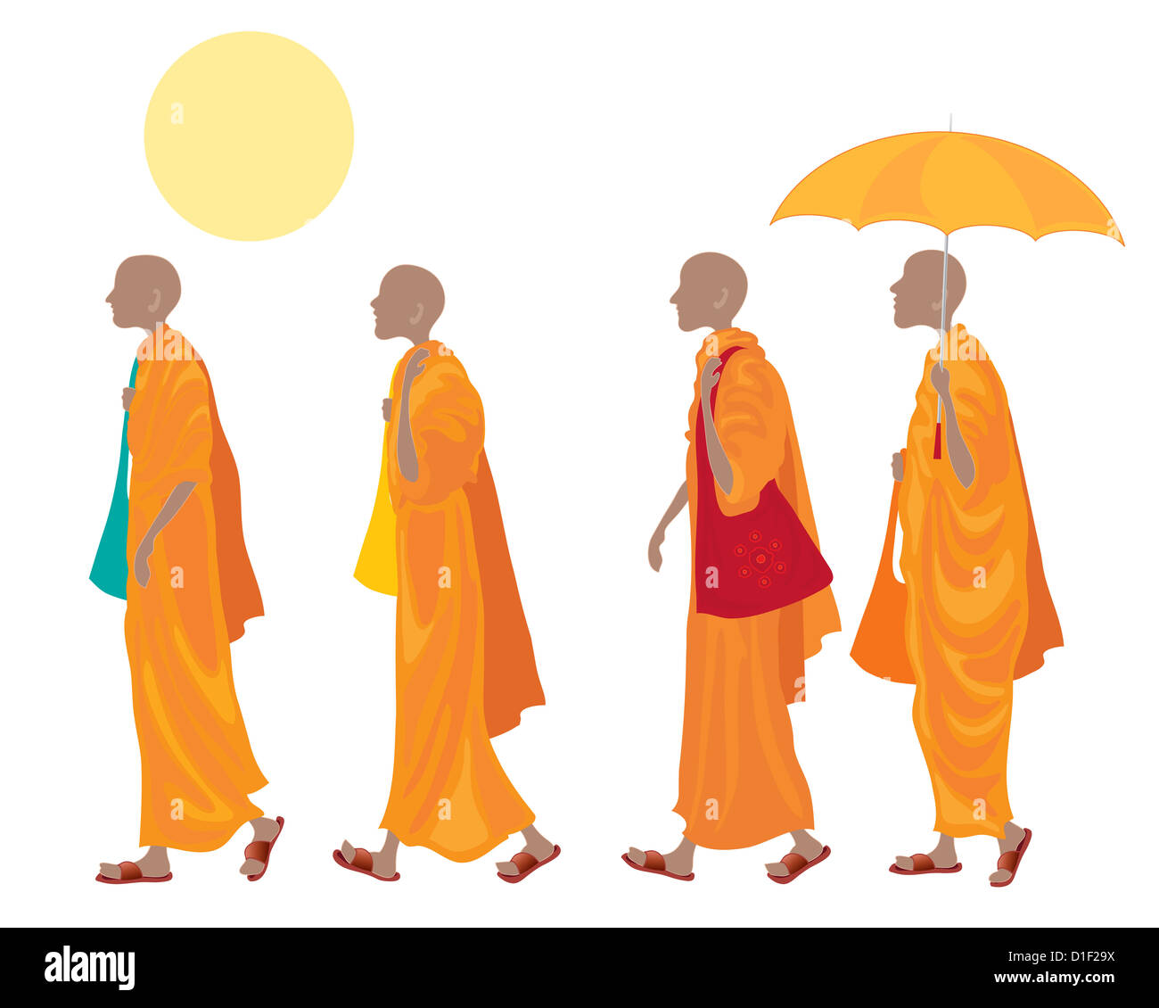an illustration of a four Buddhist monks walking in line with orange robes carrying cloth bags and wearing brown - Stock Image