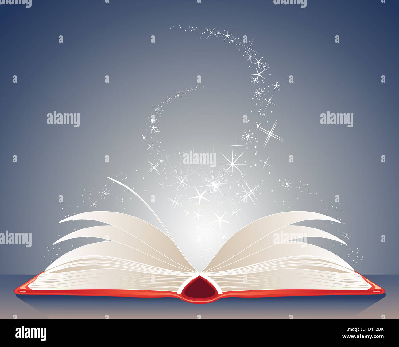 an illustration of a bright red magic book of spells open on a table with stars and sparkles on a dark blue background - Stock Image