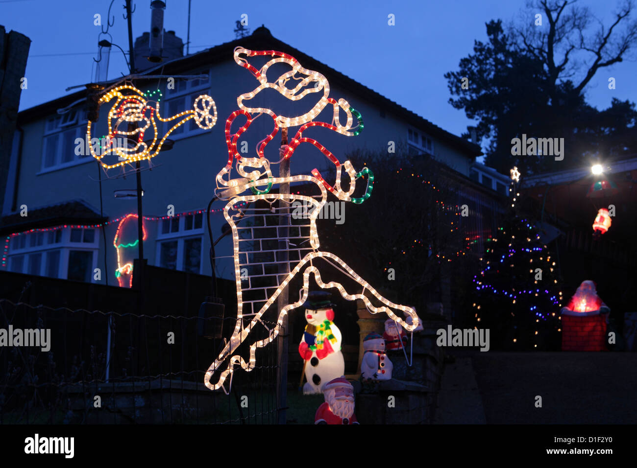 House Christmas Lights Outside Uk Stock Photos House Christmas