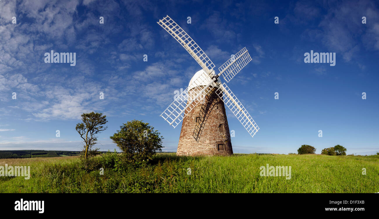 Panorama of Halnaker Windmill, a tile hung brick tower mill built in 1750 - Stock Image