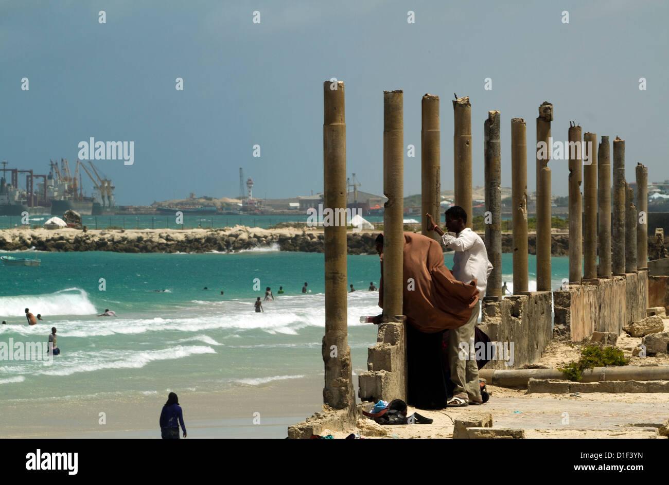 People at leisure activity on the beach Mogadishu Somalia - Stock Image