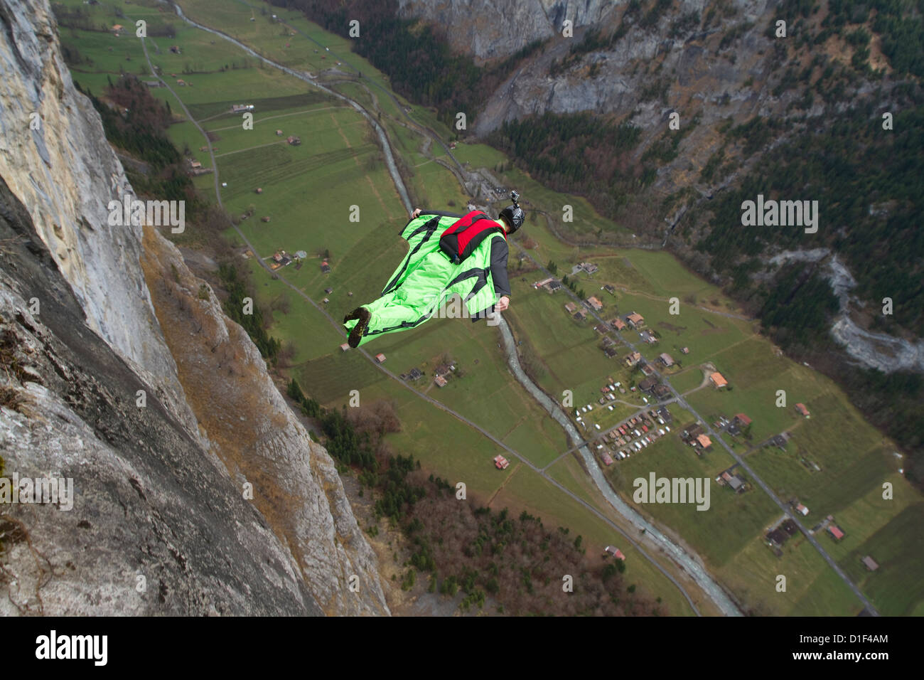 Basejumper with wingsuits in the air, Bern, Switzerland - Stock Image