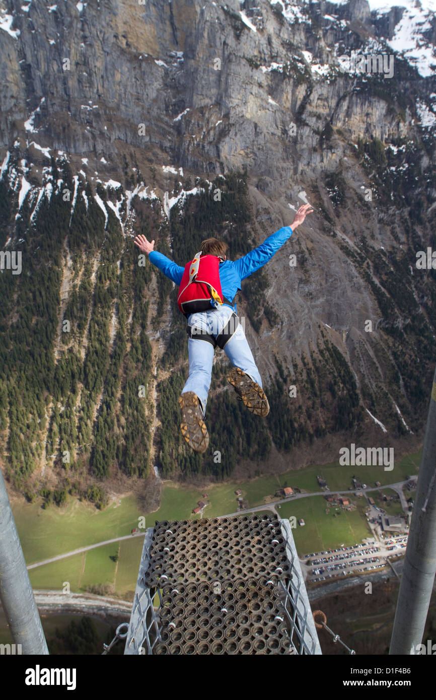 Basejumper in the air, Bern, Switzerland - Stock Image