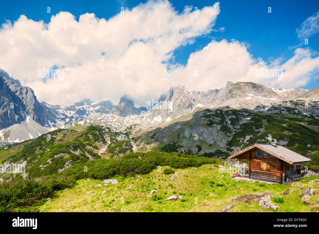Hunter's lodge at the Hochkoenig, Berchtesgaden Alps, Salzburg State, Austria Stock Photo
