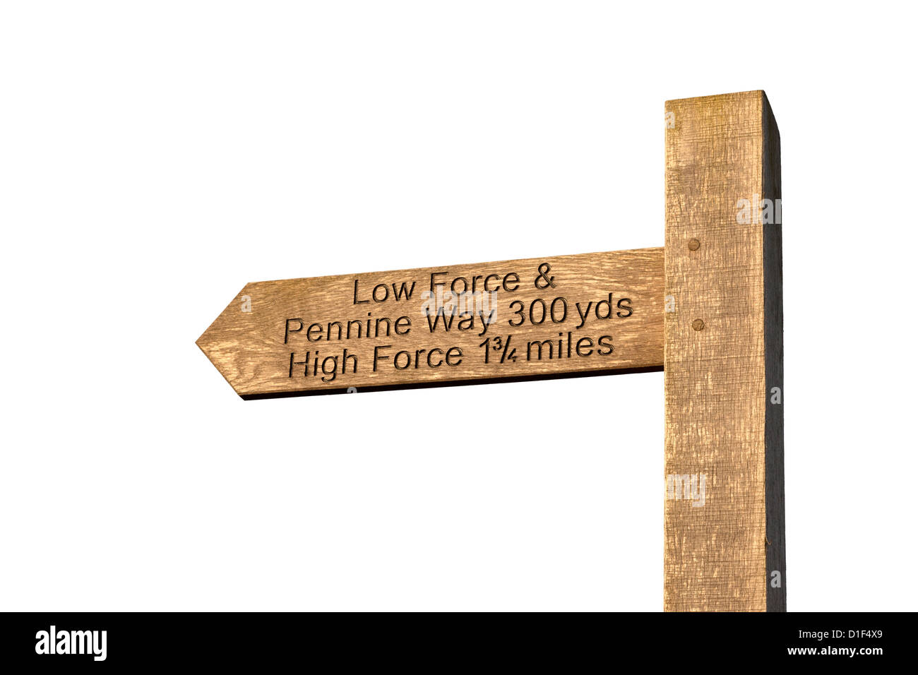 Cut Out of a Sign Post Directing Walkers to Low Force, High Force and the Pennine Way, Bowlees Upper Teesdale County - Stock Image
