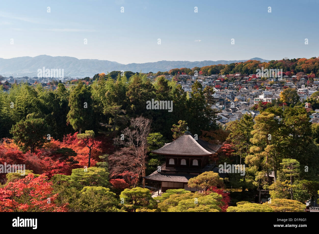 Kyoto, Japan. An autumn view over the city from the grounds of Ginkaku-ji Temple (foreground), also known as the Stock Photo