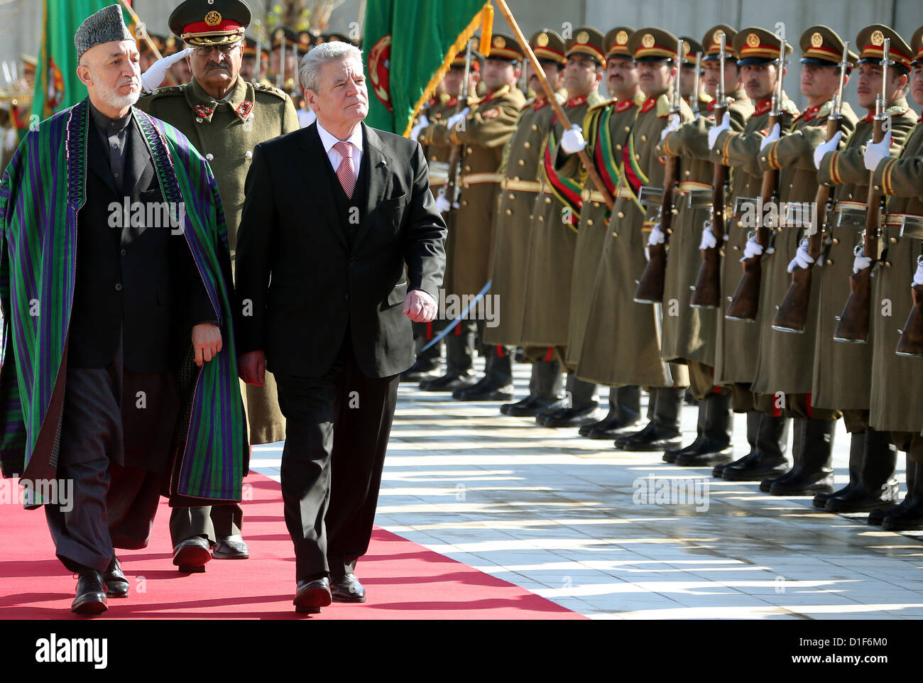 German federal president Joachim Gauck is received by Afghanistan's president Hamid Karzai (L) in Kabul, Afghanistan, Stock Photo
