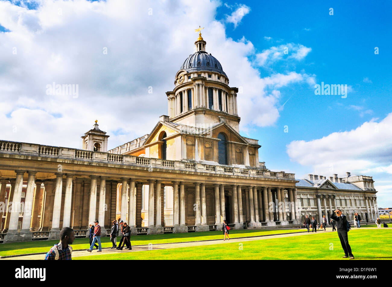 Old Royal Naval College (now home to the University of Greenwich and Trinity College of Music), Greenwich, London, - Stock Image