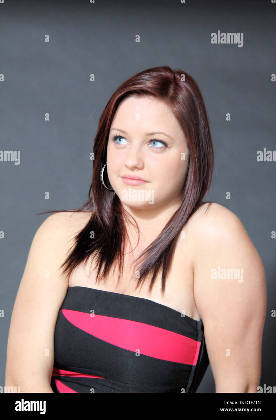 Beautiful Blue Eyed Teenager With Red Highlights In Her Hair Stock