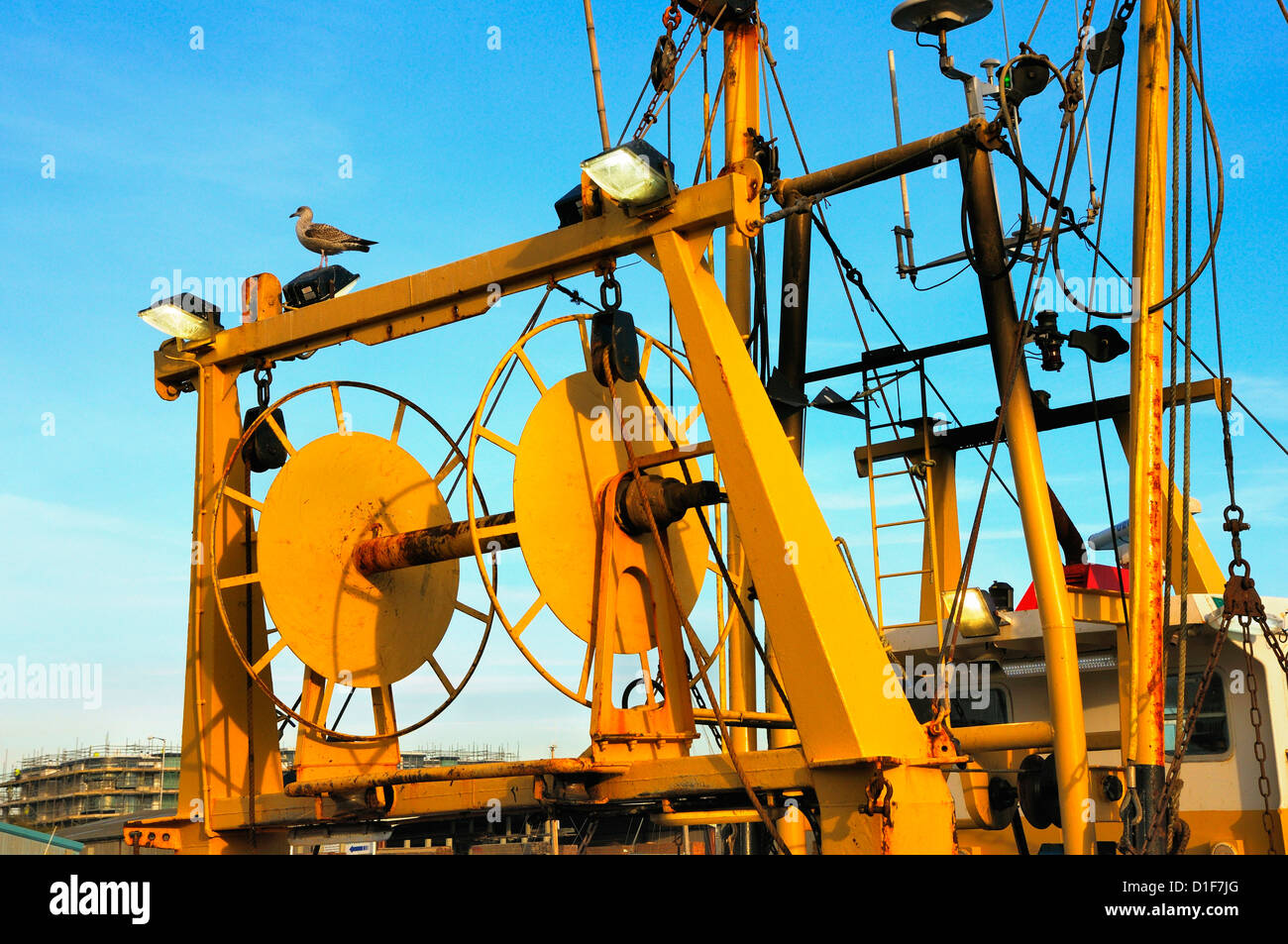 Fishing trawler winch and rigging - Stock Image