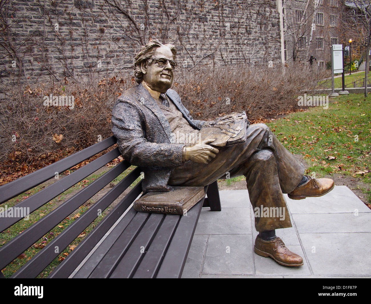Statue Of Literary Critic Northrop Frye On A Park Bench At Victoria