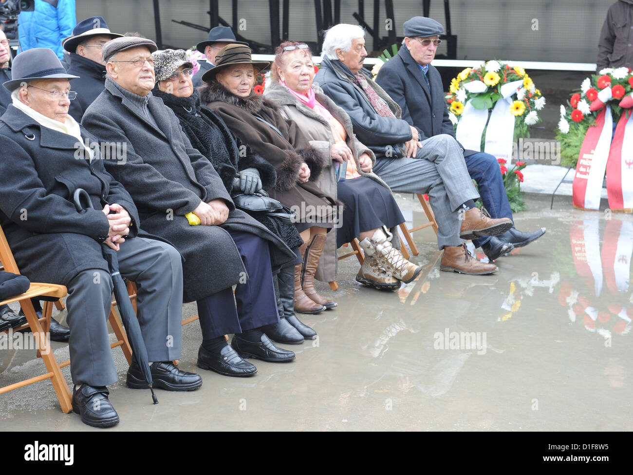 Family members and survivors of the genocide against the Sinti and Roma visit the Station Z in the former concentration - Stock Image