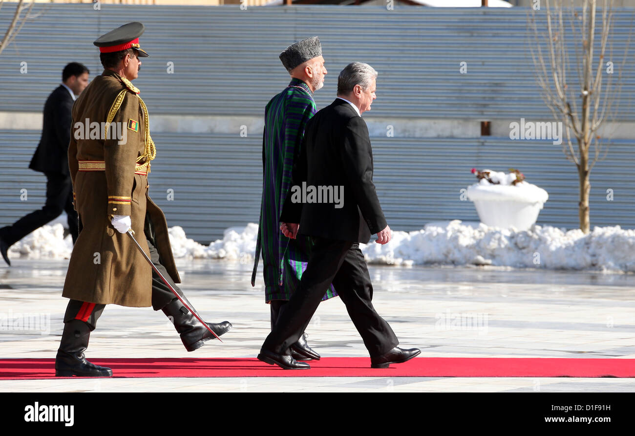 German federal president Joachim Gauck is received by Afghanistan's president Hamid Karzai (m) in Kabul, Afghanistan, Stock Photo