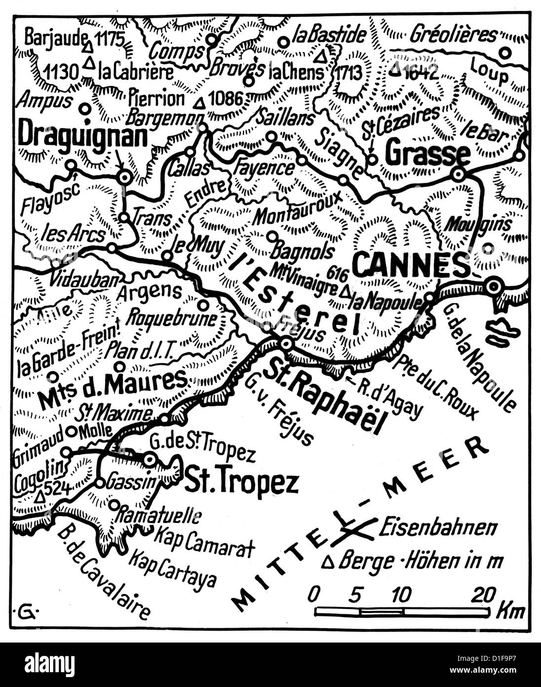 German map of the combat zone showing Allied landing points at the Western Front in southern France in August 1944. - Stock Image