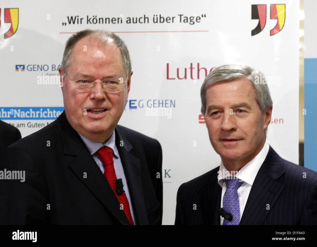 Peer Steinbrueck, chancellor candidate of the SPD and Juergen Fitschen, head of the board of Deutsche Bank (l-r) - Stock Image