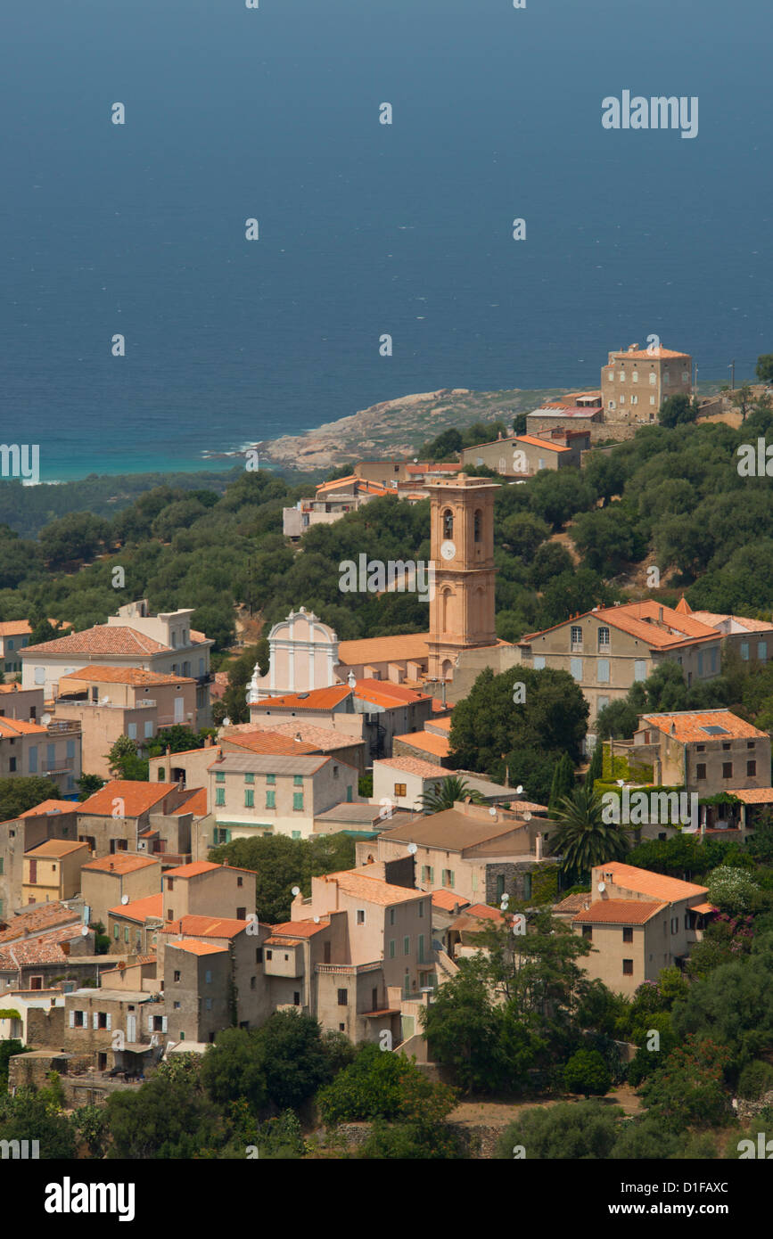 An elevated view of the picturesque village of Aregno in the inland Haute Balagne region, Corsica, France, Mediterranean, - Stock Image