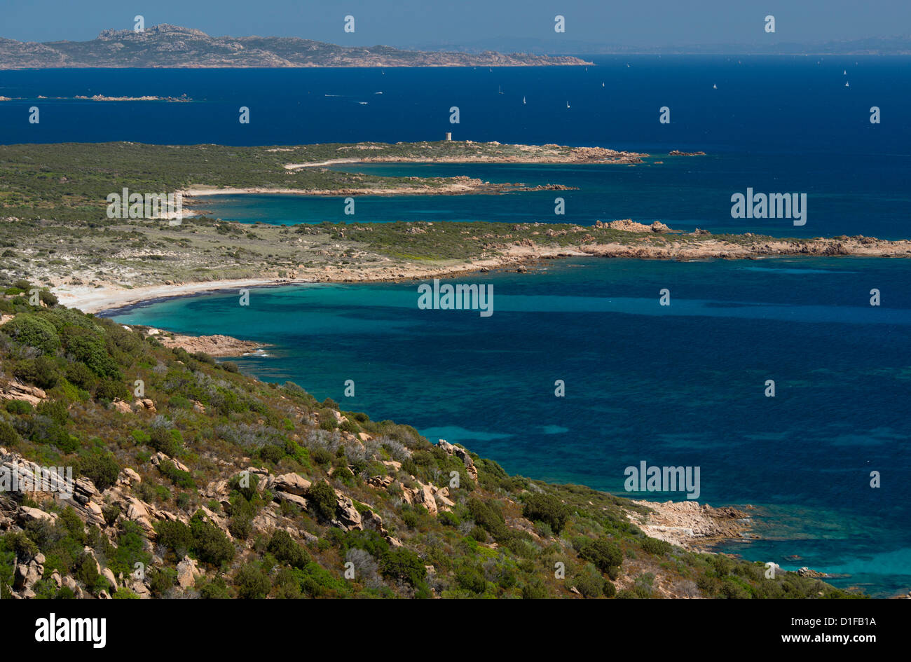 View of the coast of Corsica near Bonifacio called Reserve Naturelle des Bouches de Bonifacio, Corsica, France, - Stock Image