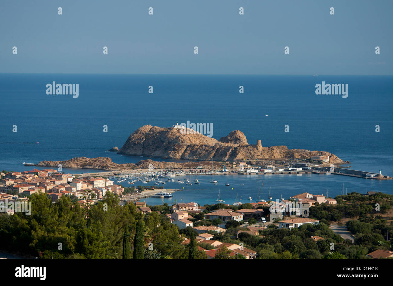 An aerial view of the town of L'Ile Rousse in the Haute-Balagne region of Corsica, France, Mediterranean, Europe Stock Photo