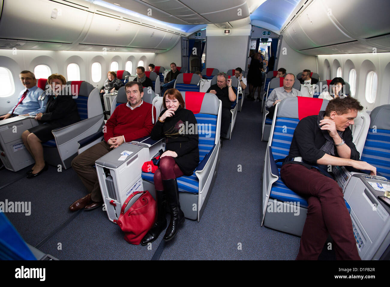 interior boeing 787 dreamliner stock image