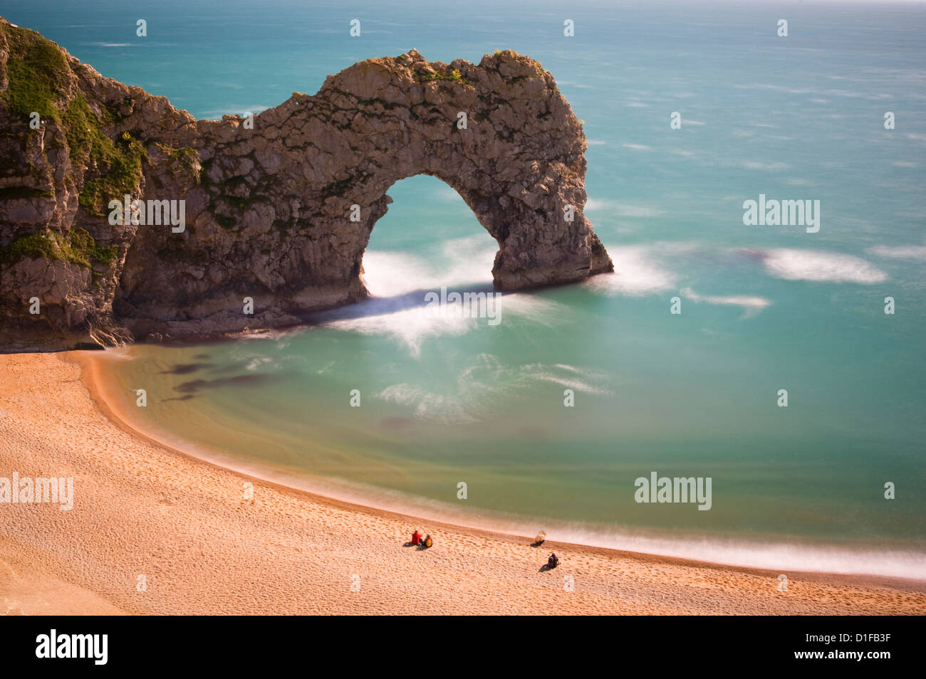 Durdle Door, a natural stone arch in the sea, Lulworth, Isle of Purbeck, Jurassic Coast, Dorset, England, United - Stock Image