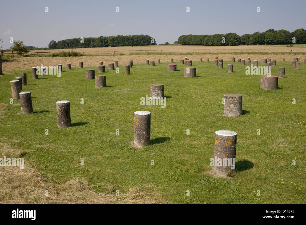 Woodhenge, showing circular design, Amesbury, Wiltshire, England, United Kingdom, Europe - Stock Image