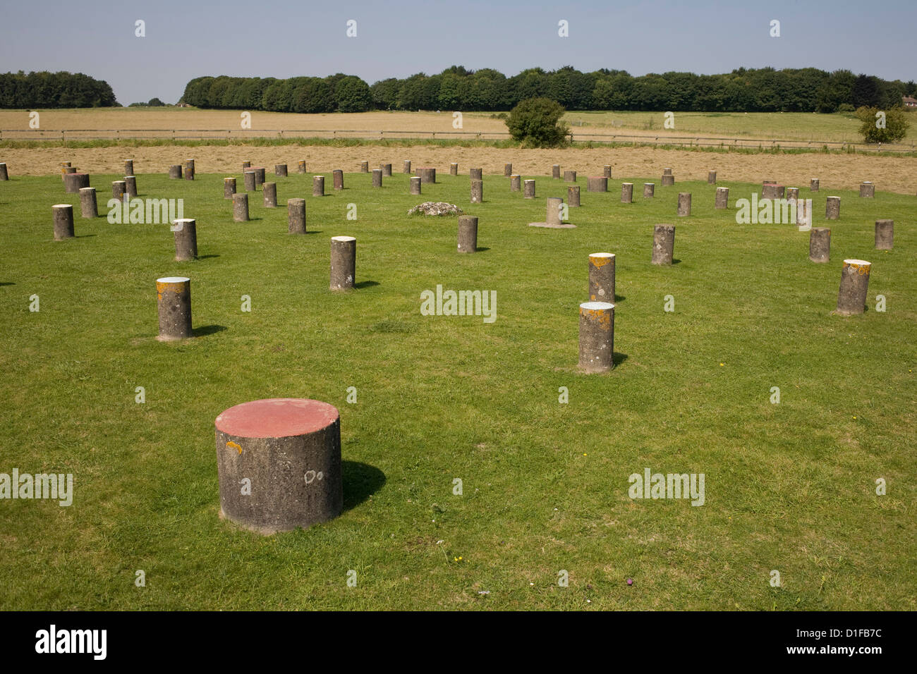 Woodhenge, concrete posts now stand where wooden posts did, Amesbury, Wiltshire, England, United Kingdom, Europe - Stock Image