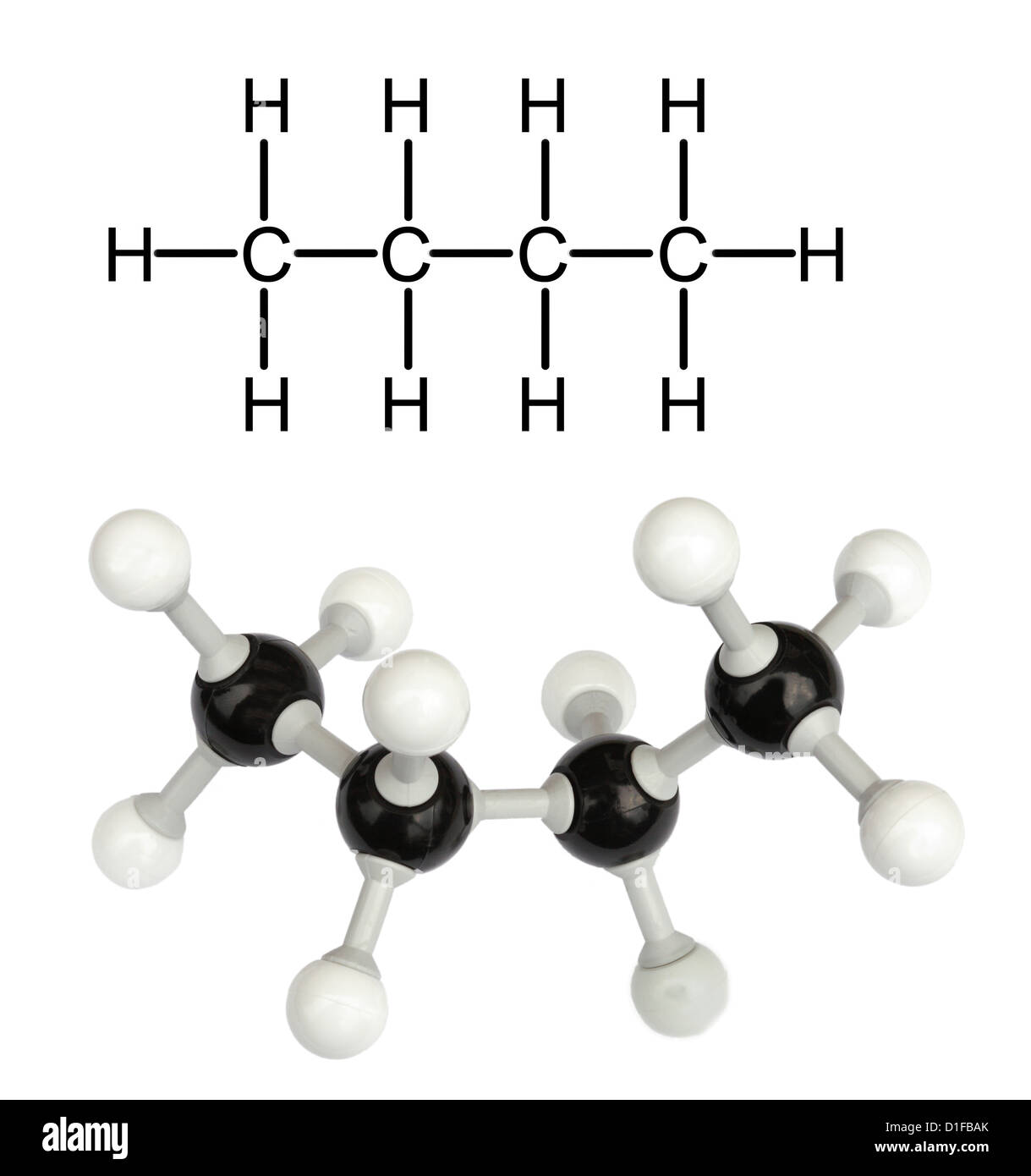 Molecular model of Butane - Stock Image