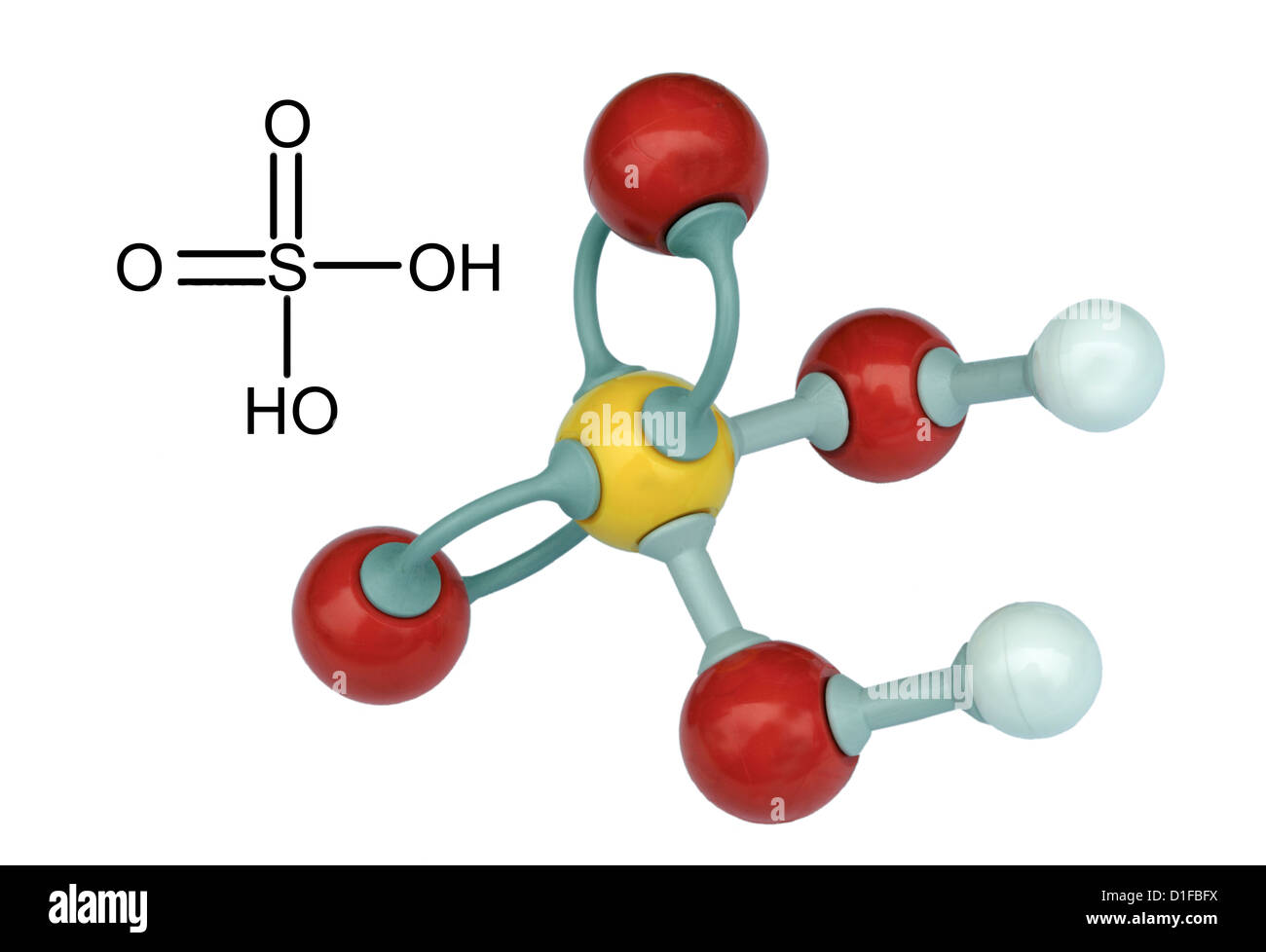Molecular model of Sulphuric Acid - Stock Image