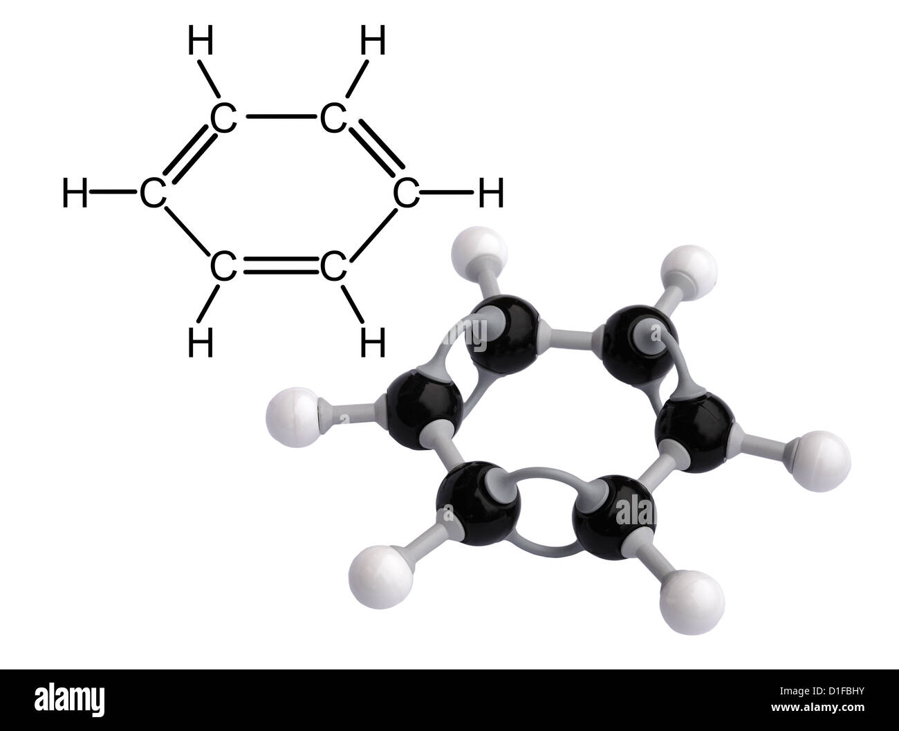 Molecular model of Benzene - Stock Image
