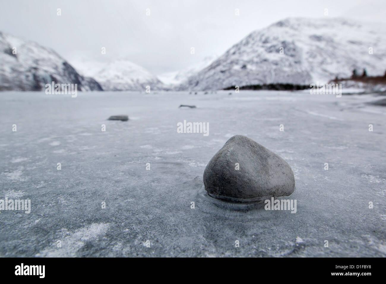 Portage Lake, Portage Glacier, frozen landscape, Chugach Mountains, Alaska - Stock Image
