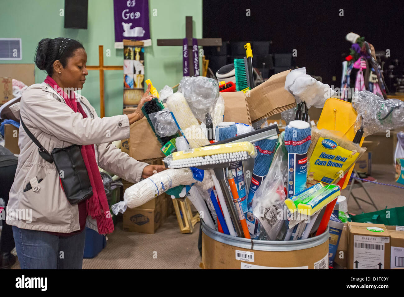 Food and Supplies Donated for Victims of Hurricane Sandy Awaits Distribution in Church Sanctuary - Stock Image