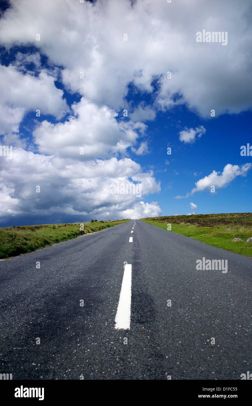 Road across Dartmoor, Devon, England, United Kingdom, Europe - Stock Image