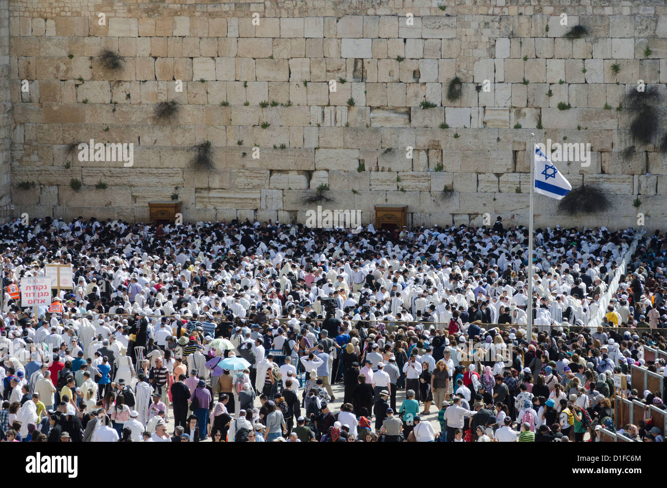 Traditional Cohen's Benediction at the Western Wall during the Passover Jewish festival, Jerusalem Old City, - Stock Image