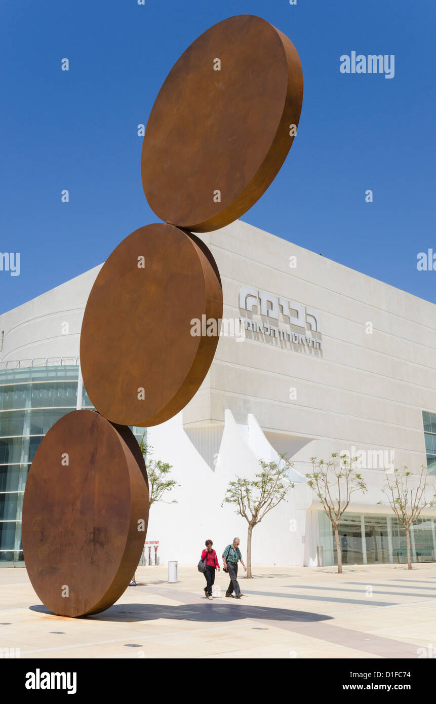 Refurbished Habima building of the National Theatre, Tel Aviv, Israel, Middle East - Stock Image