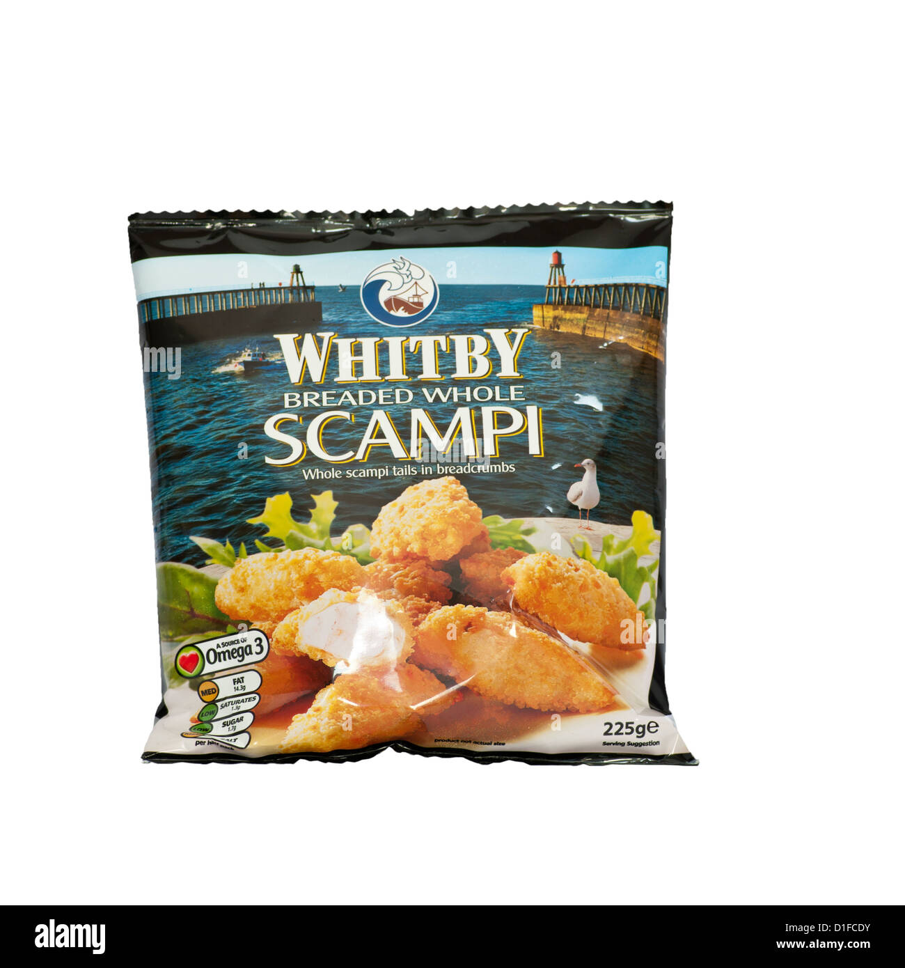 Bag Of Frozen Whitby Breaded Whole Scampi - Stock Image