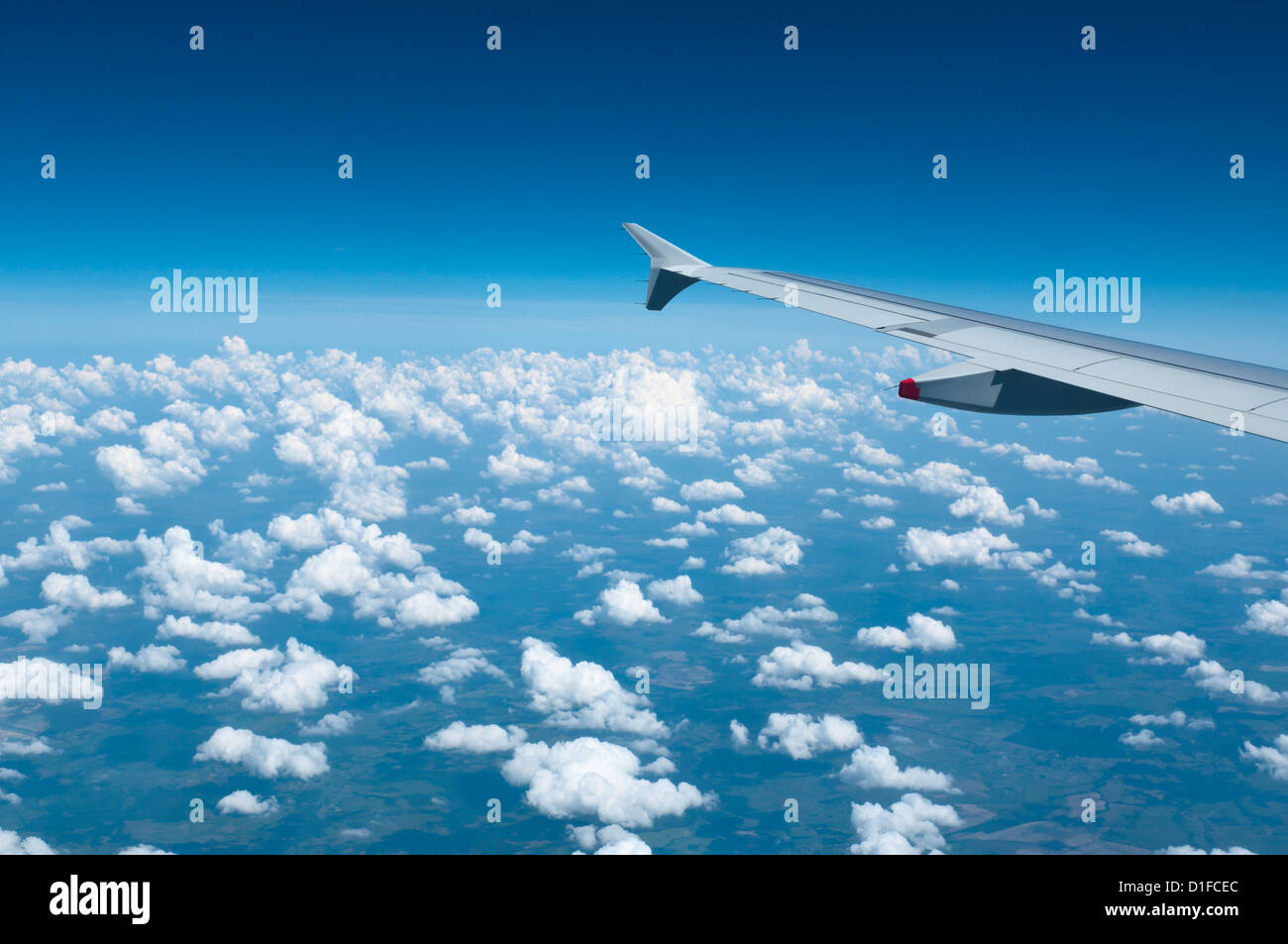 Aerial view over Ukraine and Belarus from commercial flight to Kiev, Ukraine, Europe - Stock Image