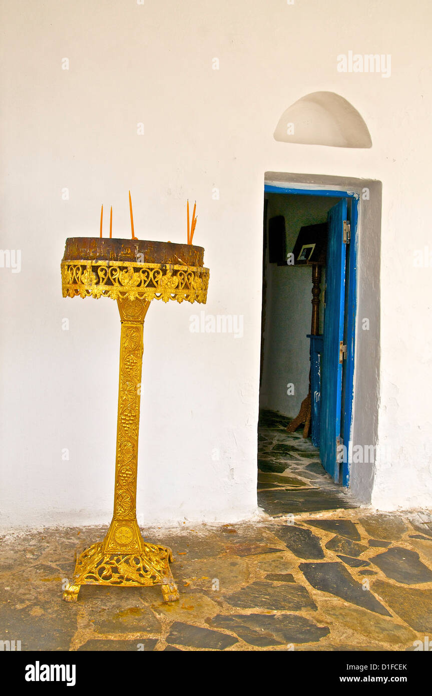 Detail of candle holder in front of Saint Nicolas chapel, by the sea, Giorpioupolis, Crete, Greek Islands, Greece, - Stock Image