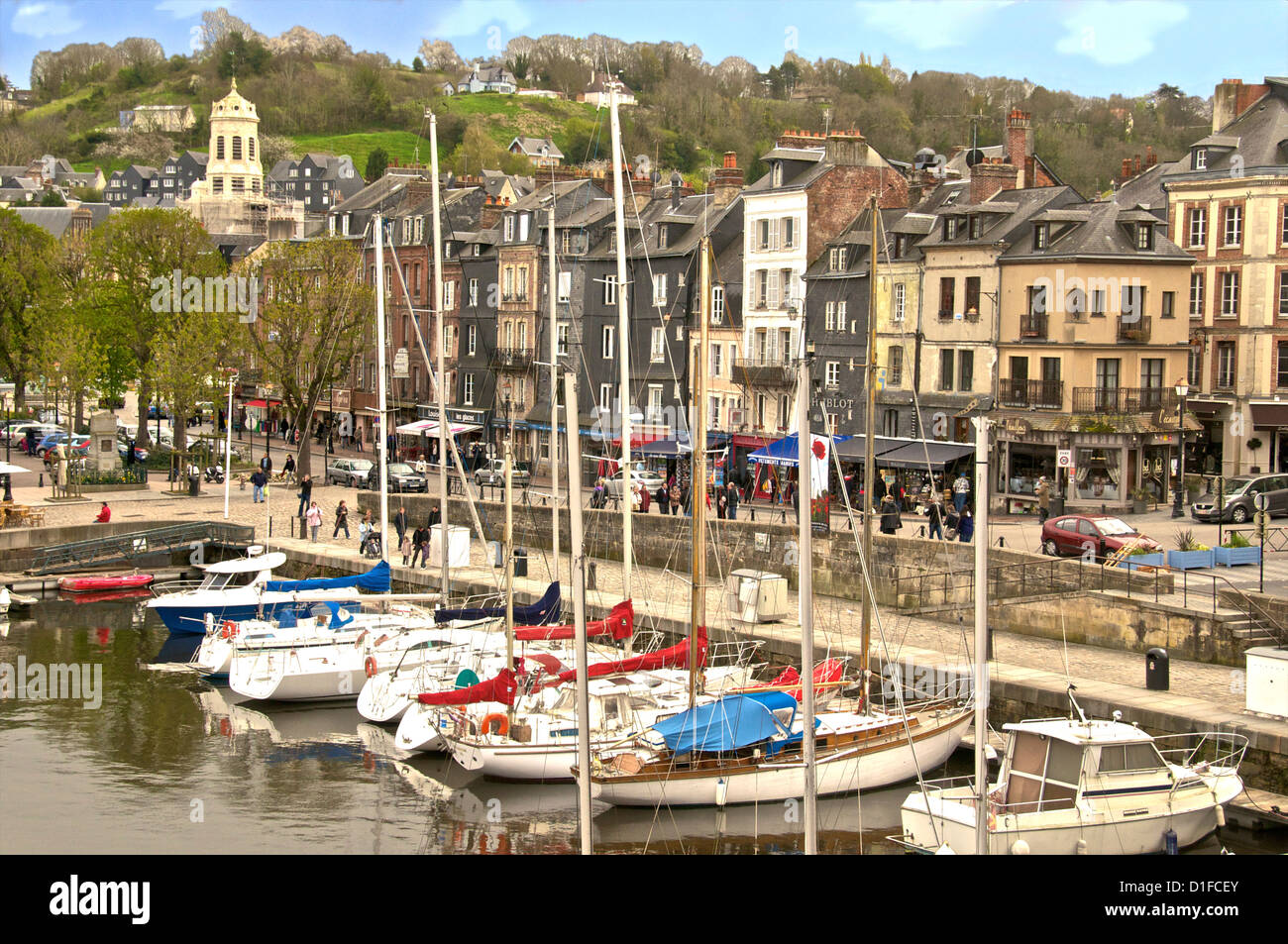 The Vieux Bassin, Old Town and boats moored along the quay, Honfleur, Calvados, Normandy, France, Europe - Stock Image