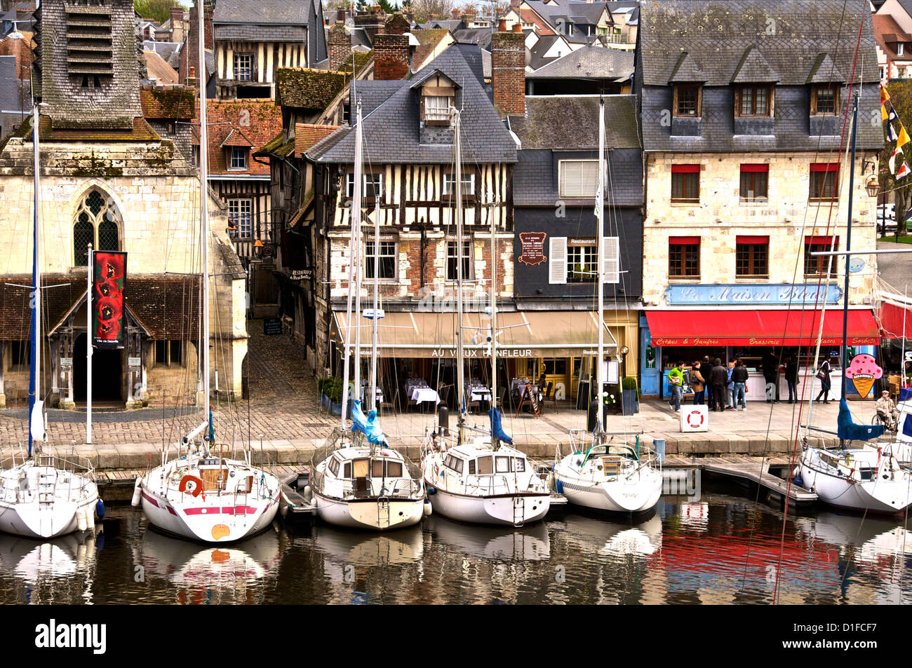 The Vieux Bassin, Saint Etienne church on the left, and boats moored along the quay, Honfleur, Calvados, Normandy, - Stock Image