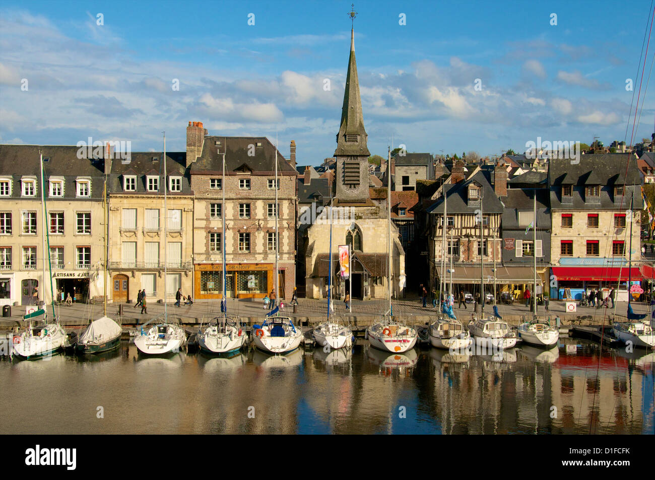 Naval Museum in Saint Etienne church, on the quay along the Vieux Bassin, with its boats, Honfleur, Calvados, Normandy, - Stock Image