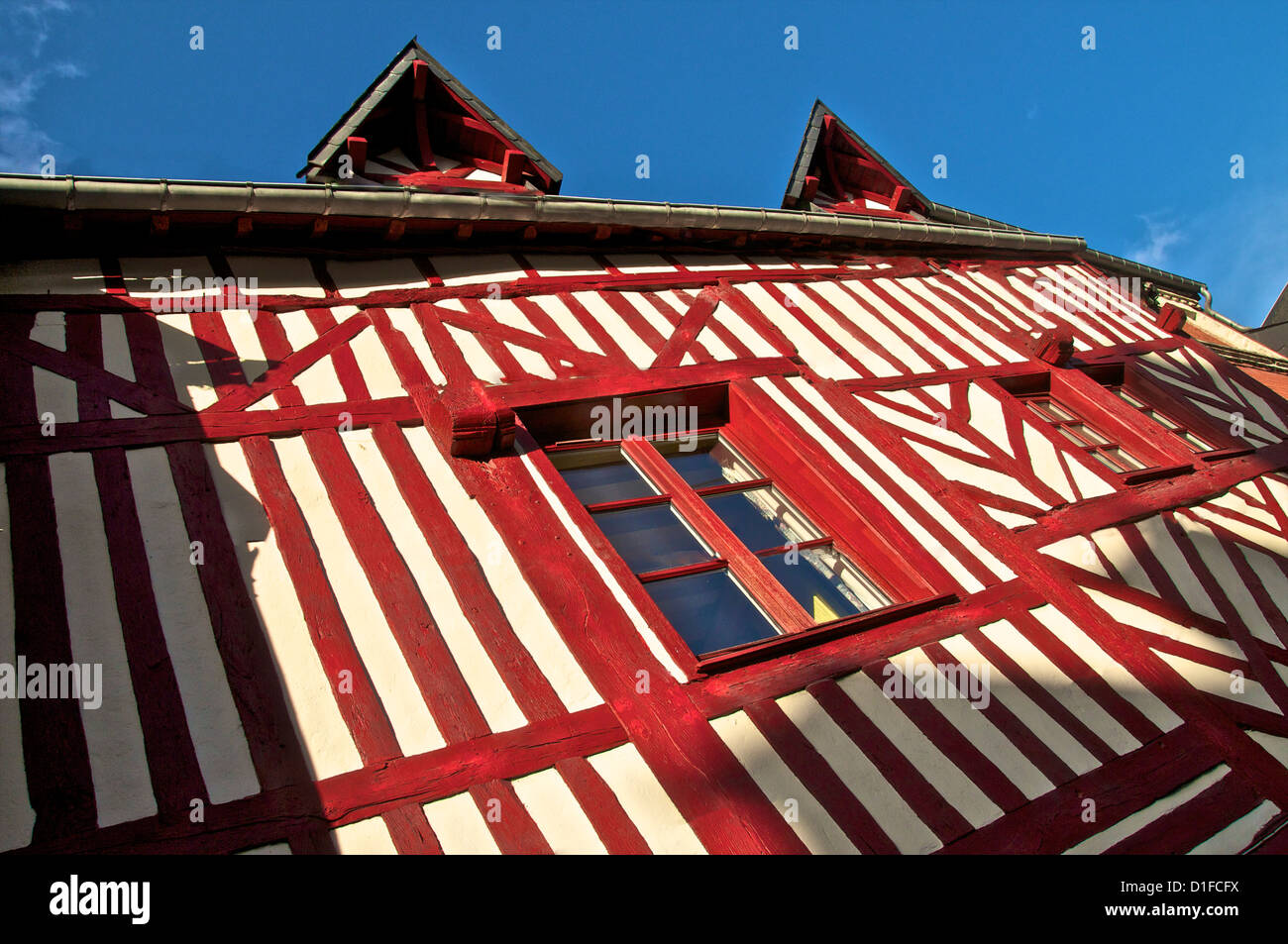 Typical half timbered Norman house, Honfleur, Calvados, Normandy, France, Europe - Stock Image