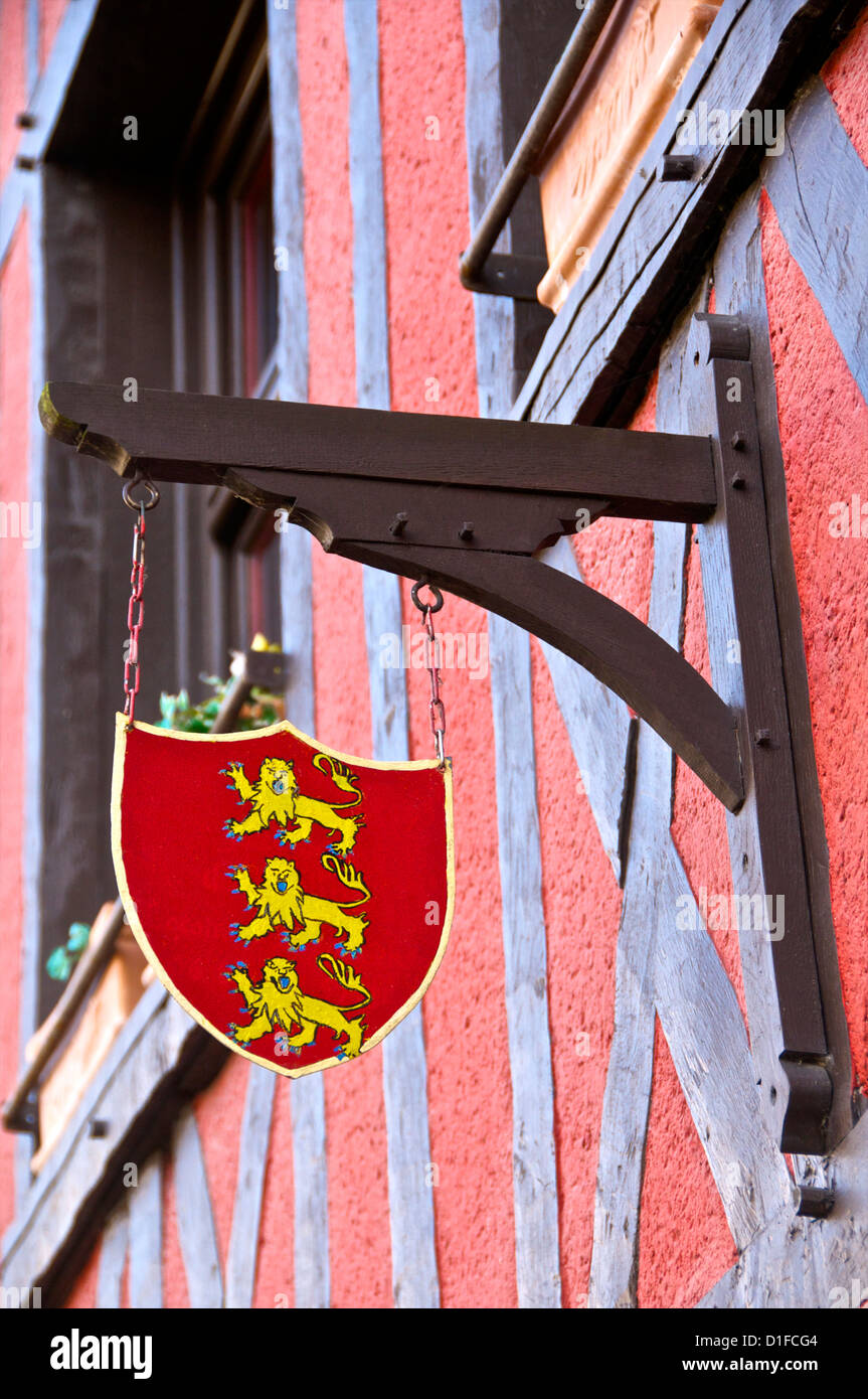 Emblem of Normandy, on a typical Norman house, Honfleur, Calvados, France, Europe - Stock Image