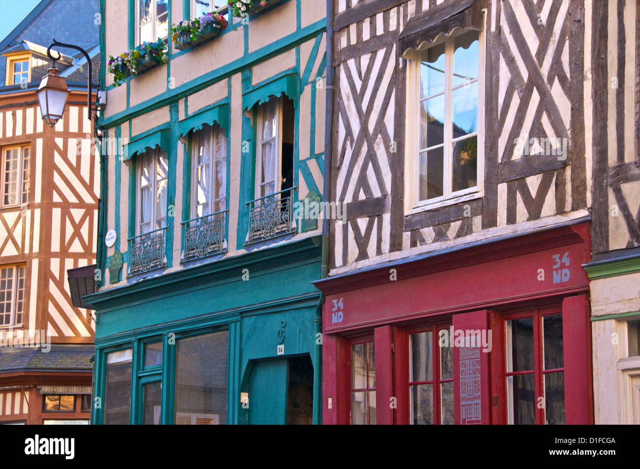 Typical half timbered Norman houses, Honfleur, Calvados, Normandy, France, Europe - Stock Image