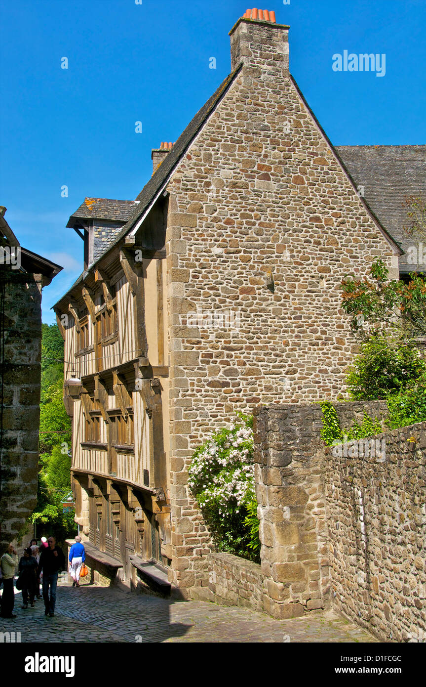 Governor's house, a 15th century mansion in an old cobbled street, Old Town, Dinan, Cotes d'Armor, Brittany, - Stock Image