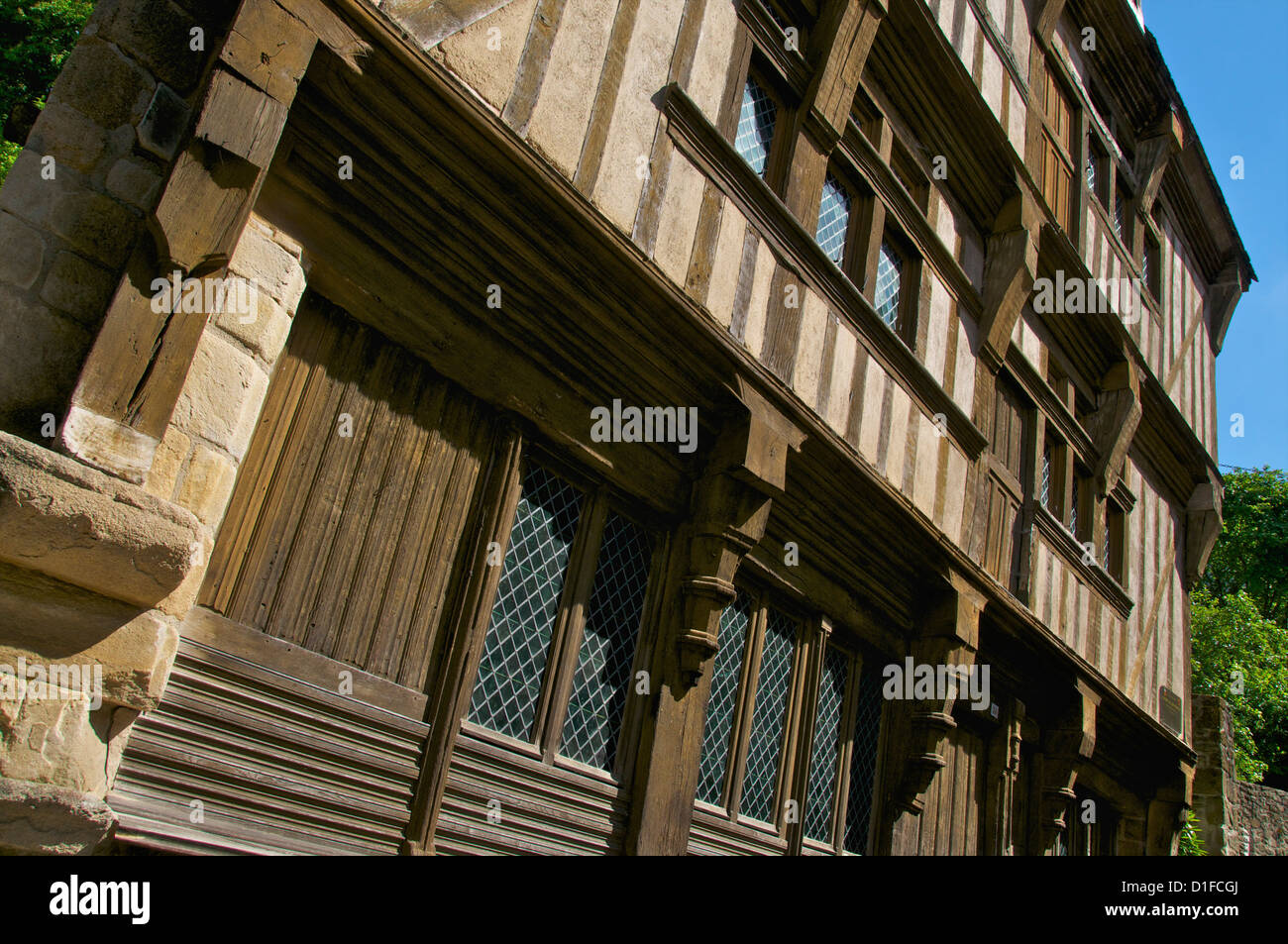 Facade detail of the Governor's house, a 15th century mansion, Old Town, Dinan, Cotes d'Armor, Brittany, - Stock Image