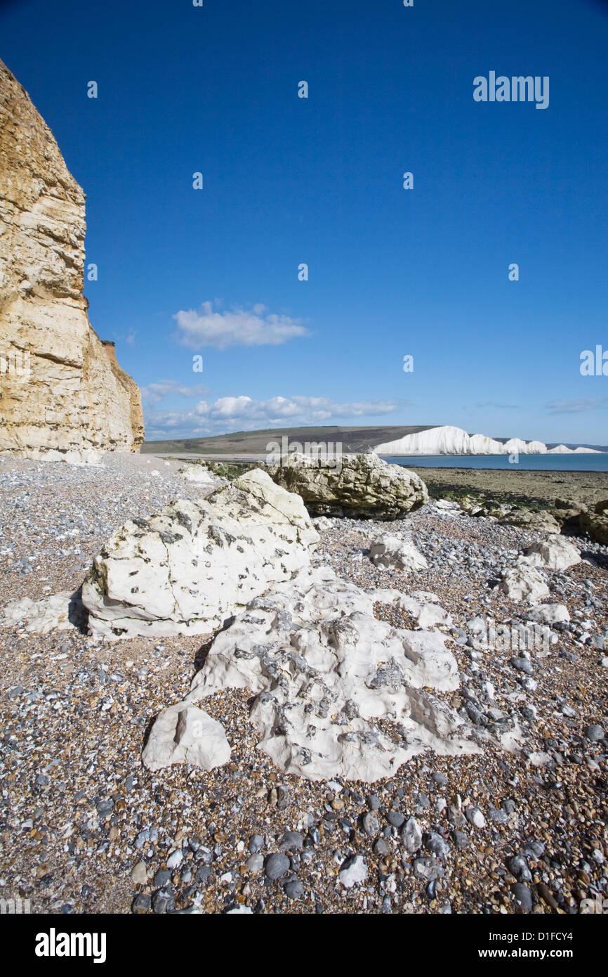 Coastline at Seven Sisters, Hope Cove, near Seaford, East Sussex, England, United Kingdom, Europe - Stock Image