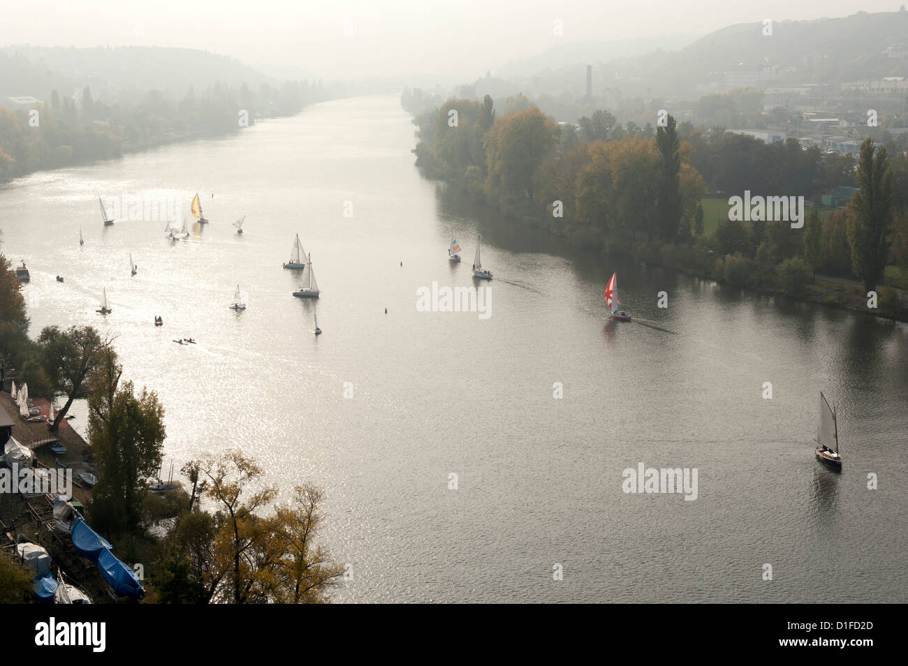 Sail boats on Vltava River in autumn, Vysehrad, Prague, Czech Republic, Europe Stock Photo