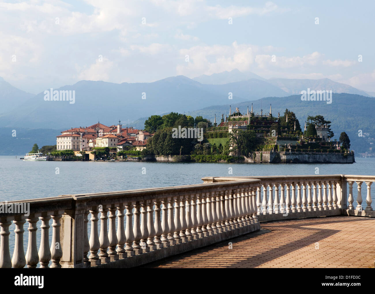 Isola Bella view from Stresa, Piedmont, Italian Lakes, Italy, Europe - Stock Image